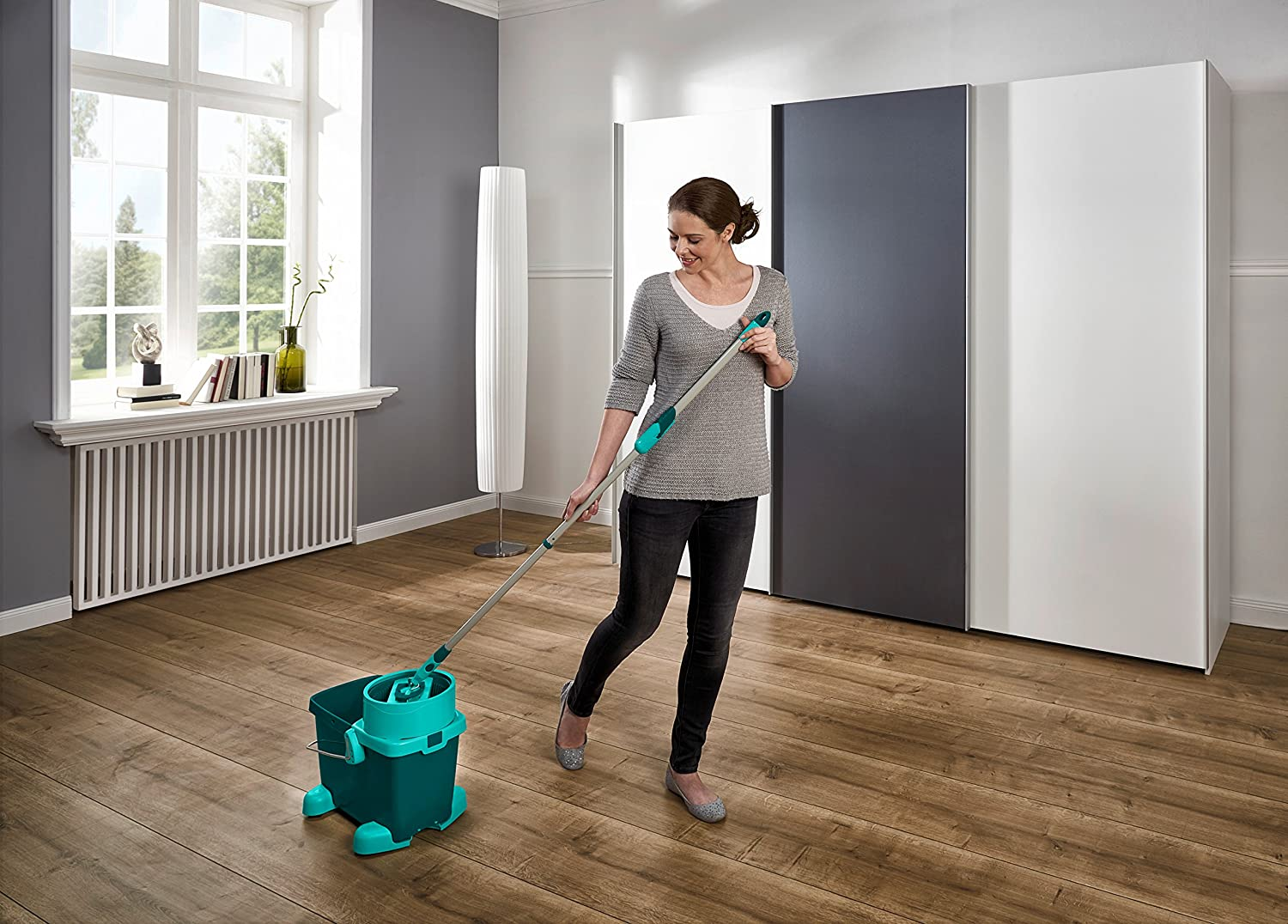 Leifheit Clean Twist Medium Mop And Wheeled Bucket Set, Moisture Controlled Spin; Faster Cleaning; Easy-Steer Micro Fibre Head with 360 Degree Joint; Mop 33 cm Wide; Spin Mop